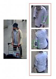 Мъжът с шапката на кадри от видеокамерите в Завентем. Полицейски снимки